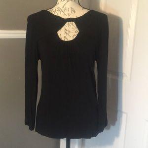 BCBG MaxAzria Long sleeve black shirt w/ cutouts